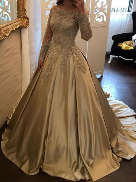 Ball Gown Off-the-Shoulder Long Sleeves Applique Satin Sweep/Brush Train Dresses