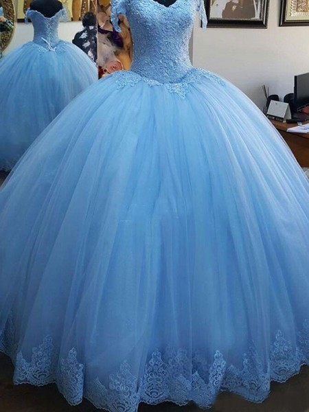 Ball Gown Off-the-Shoulder Sleeveless Lace Sweep/Brush Train Dresses