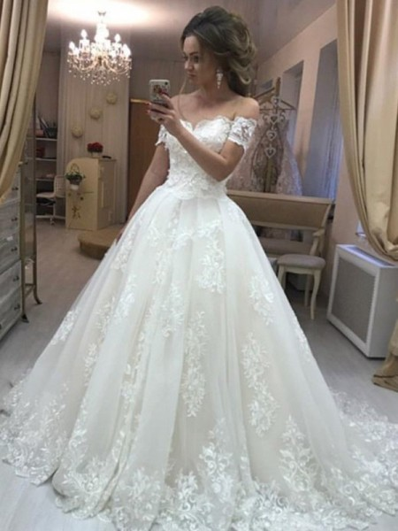 A-line/Princess Sleeveless Off-the-Shoulder Tulle Applique Sweep/Brush Train Wedding Dresses