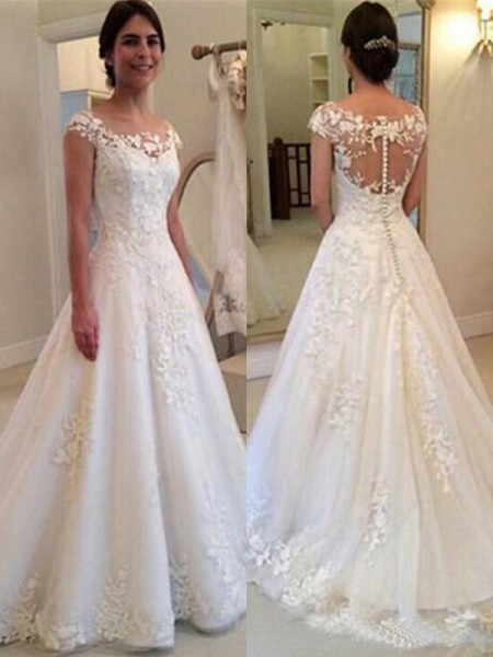 A-line/Princess Sleeveless Scoop Tulle Lace Sweep/Brush Train Wedding Dresses