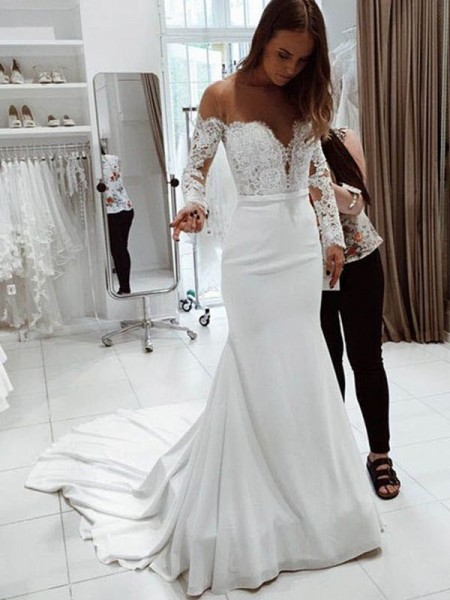 Trumpet/Mermaid Long Sleeves Off-the-Shoulder Chiffon Lace Court Train Wedding Dresses