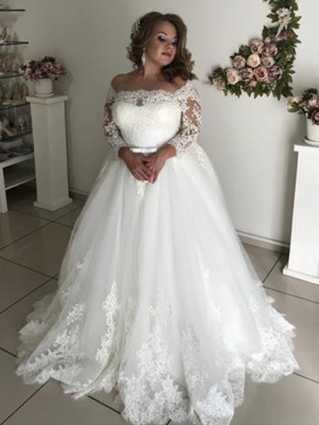 A-line/Princess Long Sleeves Off-the-Shoulder Tulle Lace Sweep/Brush Train Wedding Dresses