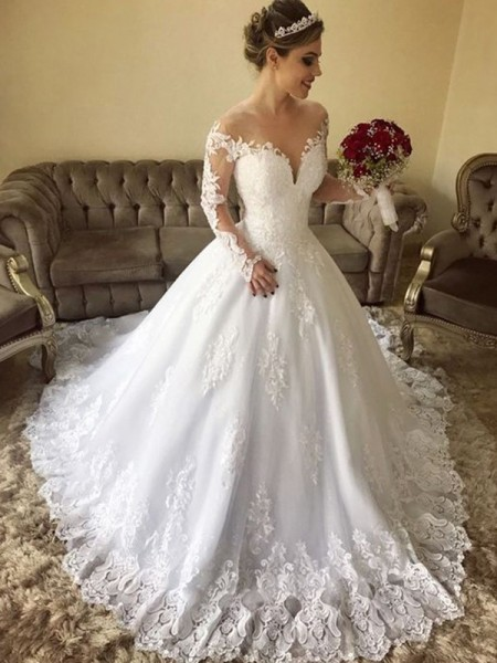 Ball Gown Long Sleeves Off-the-Shoulder Tulle Lace Sweep/Brush Train Wedding Dresses