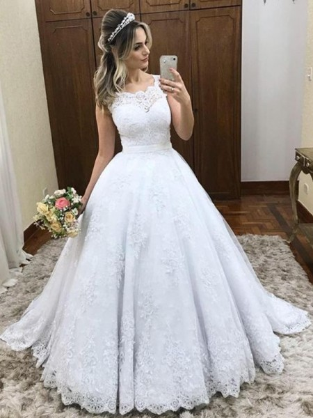 Ball Gown Sleeveless Scoop Satin Sweep/Brush Train Lace Wedding Dresses