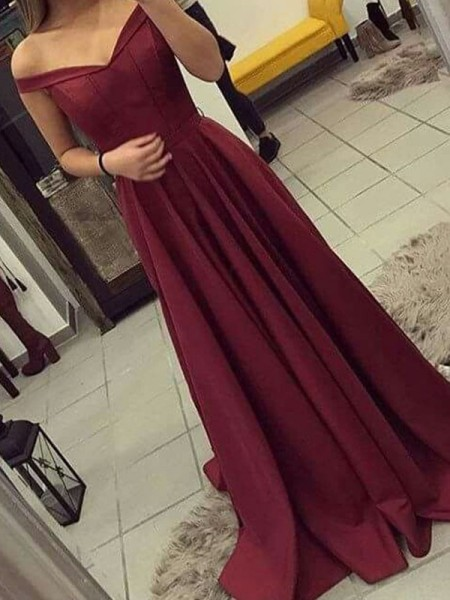 A-line/Princess Sleeveless Off-the-Shoulder Satin Ruched Sweep/Brush Train Dresses