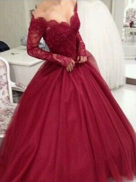 Ball Gown Long Sleeves V-neck Tulle Lace Floor-Length Dresses