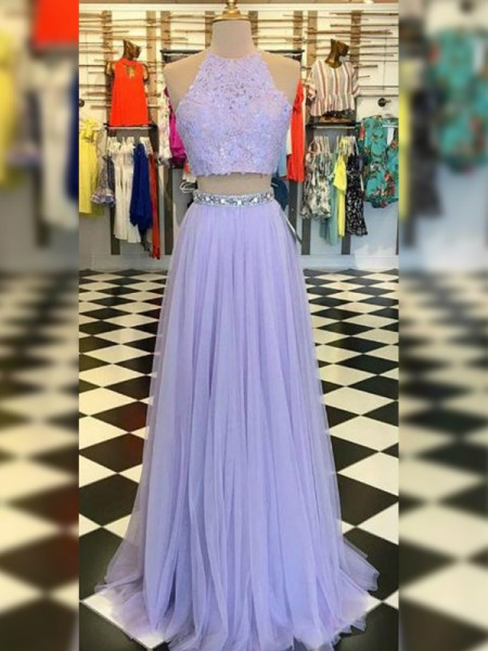 A-line/Princess Sleeveless Tulle Halter Lace Sweep/Brush Train Two Piece Dresses