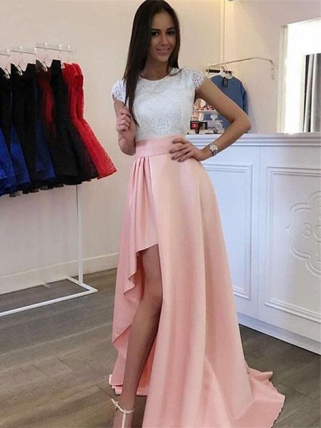 A-line/Princess Short Sleeves Lace Scoop Satin Sweep/Brush Train Dresses