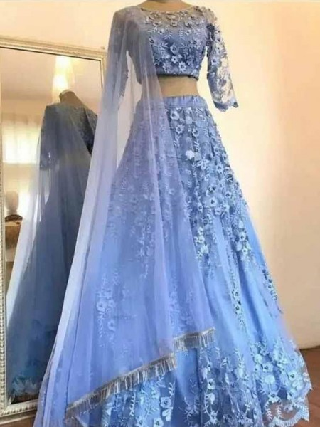 A-Line/Princess Applique 3/4 Sleeves Scoop Tulle Floor-Length Two Piece Dresses