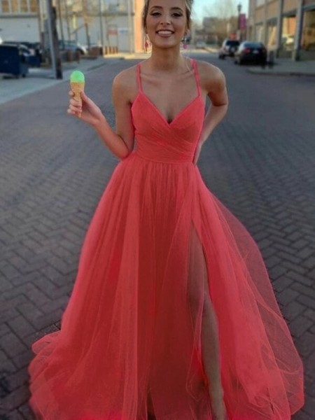 A-Line/Princess Tulle Ruched Sleeveless V-neck Sweep/Brush Train Dresses