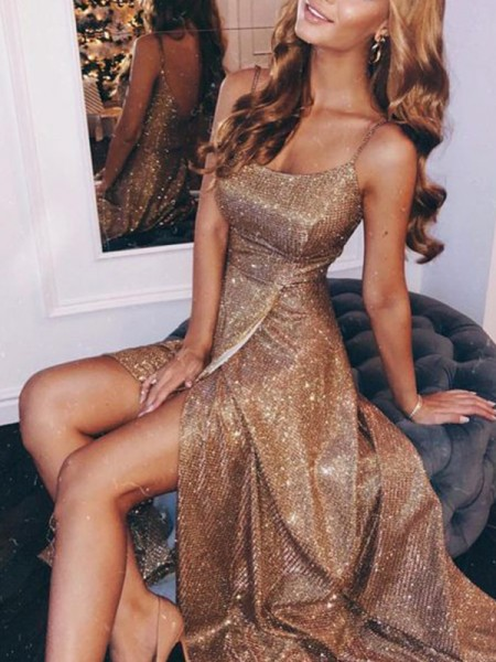 A-Line/Princess Spaghetti Straps Sleeveless Sequins Ruched Floor-Length Dresses
