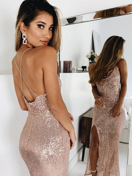 Trumpet/Mermaid Spaghetti Straps Sequins Ruched Sleeveless Ankle-Length Dresses