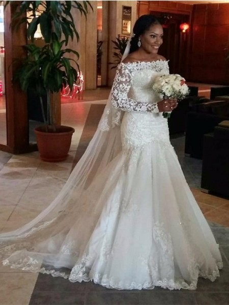 Trumpet/Mermaid Long Sleeves Off-the-Shoulder Tulle Lace Sweep/Brush Train Wedding Dresses