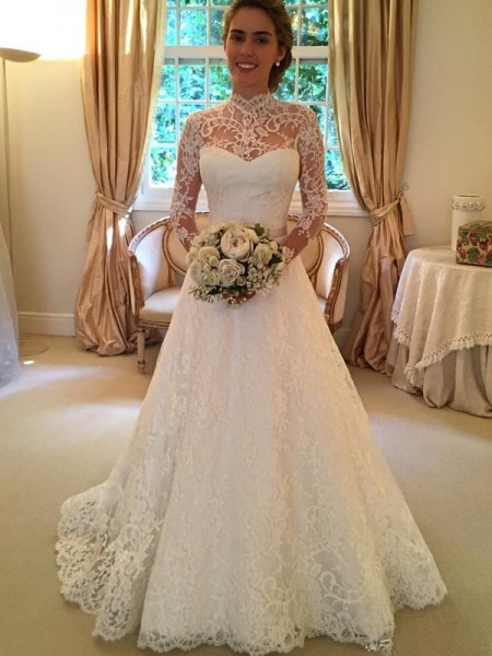 Ball Gown Long Sleeves High Neck Lace Court Train Wedding Dresses