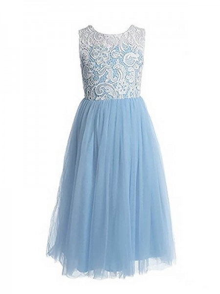 A-line/Princess Lace Jewel Tulle Ankle-Length Flower Girl Dresses
