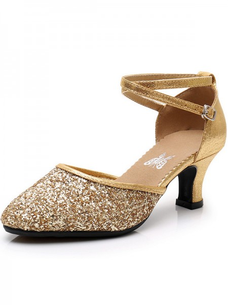 Cone Heel Sparkling Glitter Closed Toe Sandals For Women