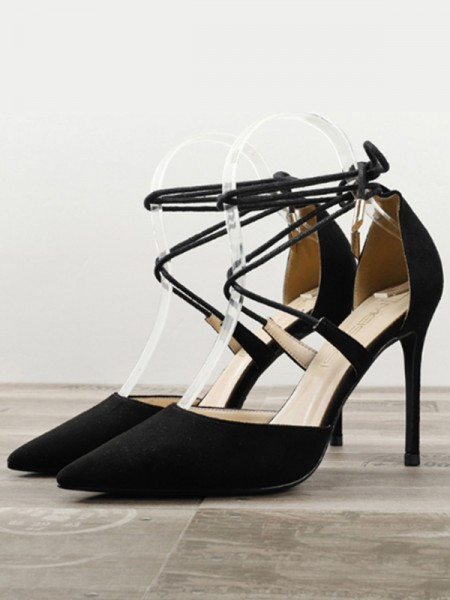 Stiletto Heel Closed Toe High Heels With Suede For Women