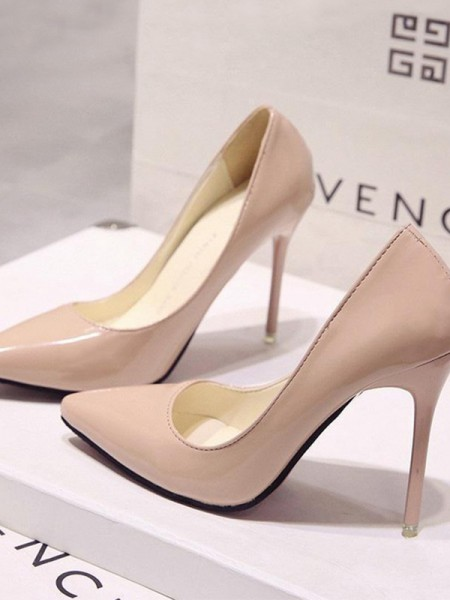 Stiletto Heel Closed Toe Patent Leather High Heels For Women