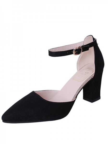 Chunky Heel Flock Closed Toe Sandals For Women