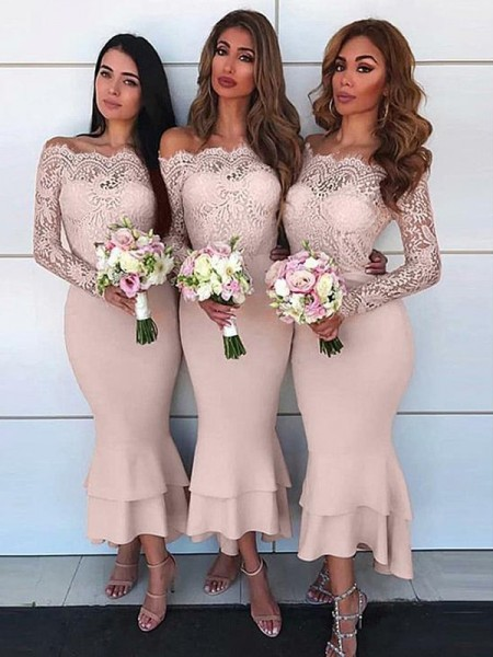 Sheath/Column Long Sleeves Off-the-Shoulder Jersey Ankle-Length Bridesmaid Dresses