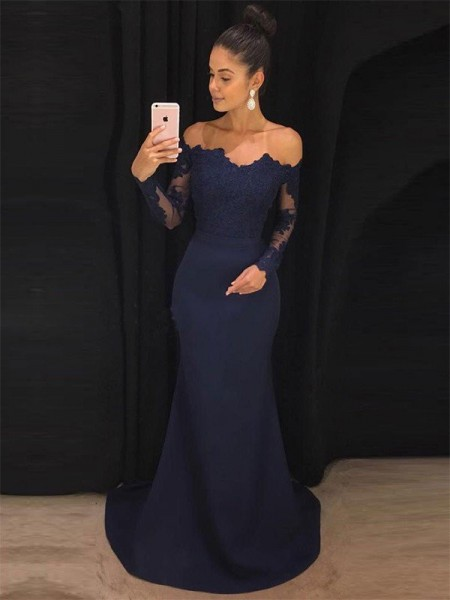 Trumpet/Mermaid Long Sleeves Off-the-Shoulder Satin Lace Sweep/Brush Train Dresses