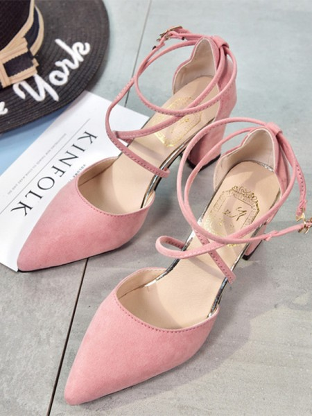Stiletto Heel Closed Toe Sandals With Suede For Women