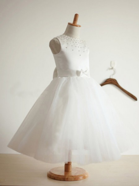 Ball Gown Bowknot Tulle Jewel Sleeveless Long Dresses